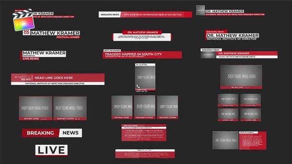 FCPX插件-20种新闻栏目介绍文字标题字幕条动画 News Minimal Lower Thirds插图