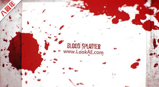 视频素材-50个红色血液飞溅喷洒飙血通道素材 Blood Splatter HD1插图