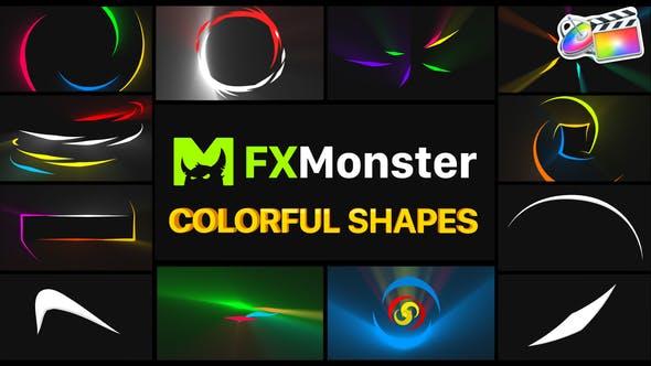 FCPX插件-12个彩色缤纷拖尾MG图形动画 Colorful Shapes插图