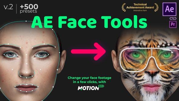 AE脚本-人脸面部追踪贴图表情化妆美颜丑化换脸锁定变形特效预设工具 AE Face Tools V2 Win/Mac完整已注册版 + 使用教程插图