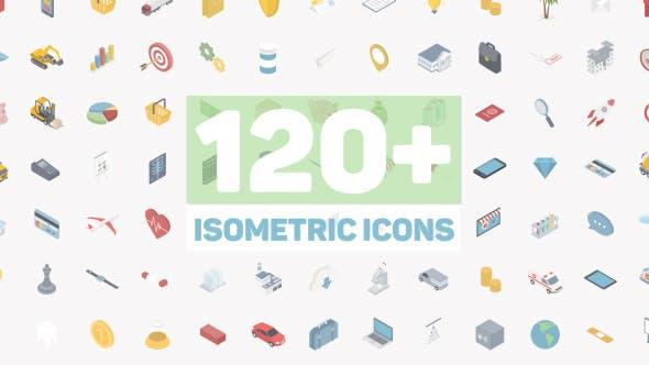 AE模板-120个二维扁平化商务生活交通建筑网络等距图标动画 Isometric Icons插图