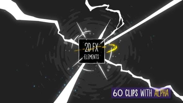 视频素材-60个二维动漫卡通能量电流烟雾爆炸MG动画元素 2D FX Elements插图