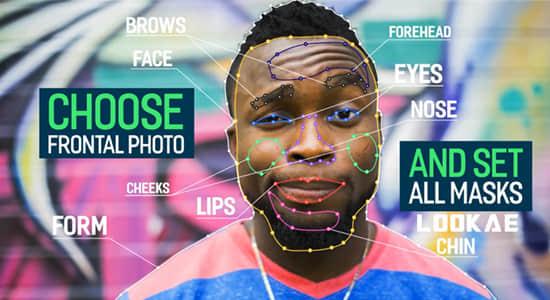 AE模板-平面图片转逼真三维摄像机透视动画 3D Face Animator