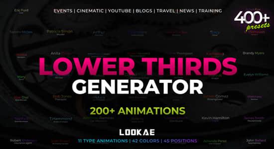 PR预设-400种文字动作类型渐变配色生成器 Lower Thirds Generator插图