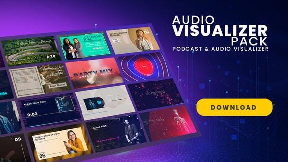 AE模板-设计感十足的音频可视化视觉包装展示动画 Podcast & Audio Visualizer Pack