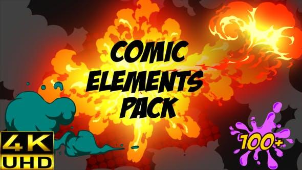 4K视频素材-100种炫酷卡通动漫火焰烟雾水液体气泡MG动画元素包 Comic Fx Pack