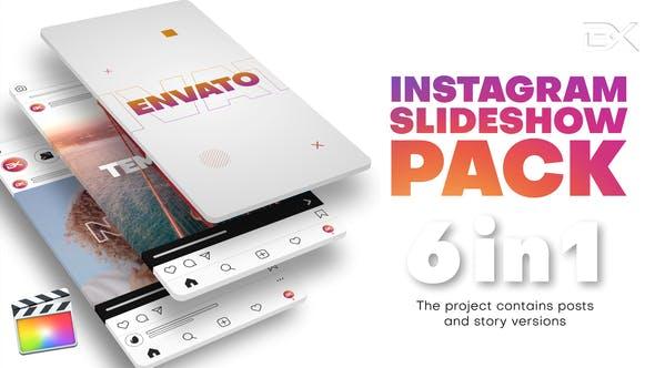 FCPX插件-6套竖屏动感节奏快闪快剪图文介绍展示片头模板 Instagram Slideshow Pack插图