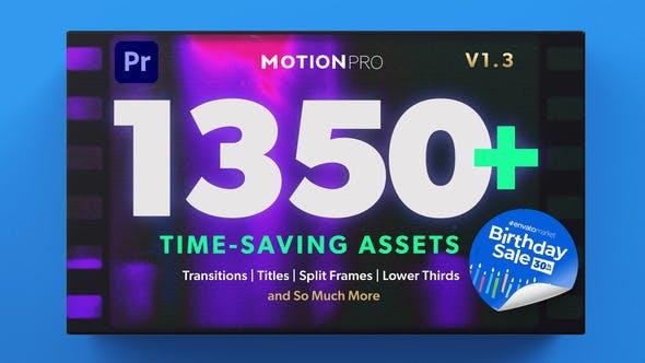 PR模板-1350种现代社交媒体标题字幕条转场图文排版设计包装分屏图形元素背景视觉特效预设合集包 Motion Pro
