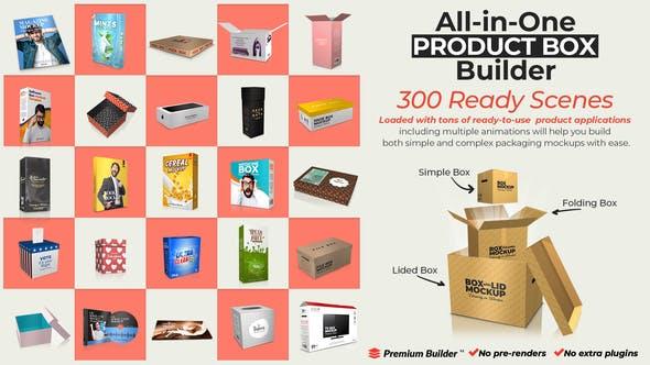 AE脚本模板-商品产品三维盒子包装介绍动画工具包 All-in-One Product Box Builder