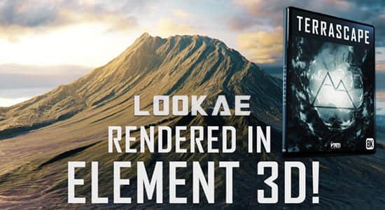 大气壮丽山峰峡谷地形高山雪山星球地表E3D材质贴图OBJ模型 Terrascape (Landscapes for Element 3D)