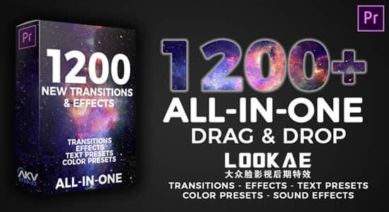 PR预设-1200种运动弹跳变形光效缩放抖动闪烁故障失真转场视觉特效包 AKV Studios – 1200+ Transitions & Effects插图