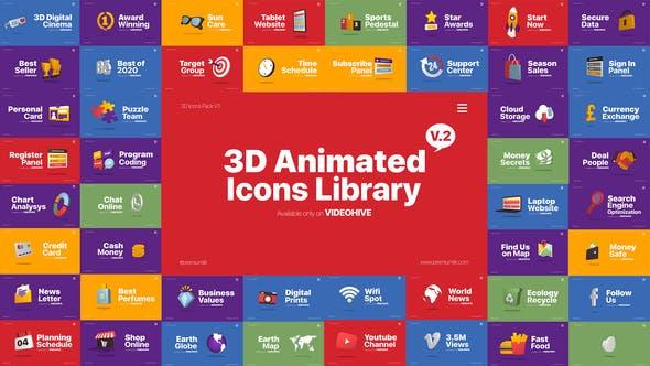 AE模板-110个网络社交媒体生活游戏服务三维立体图标动画包 3D Animated Icons Library