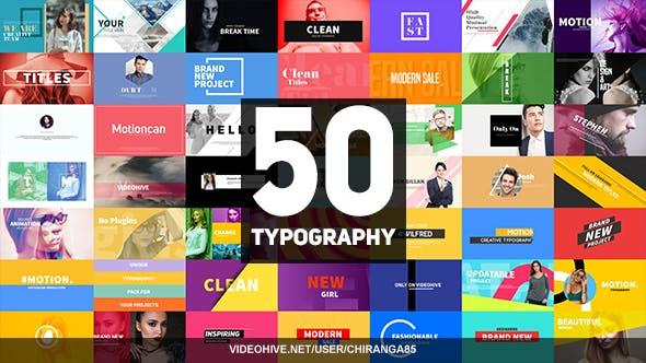 AE模板-50个时尚宣传文字图文排版标题动画 50 Typography插图
