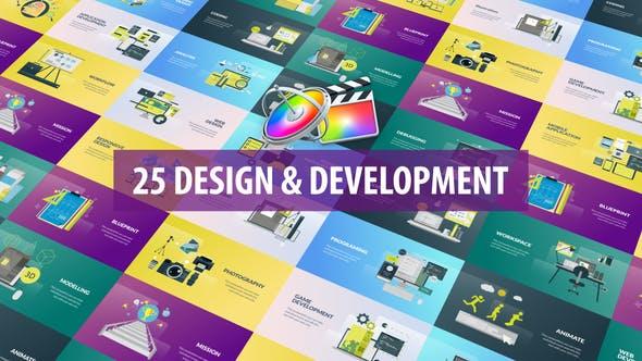 FCPX插件-25种网络设计开发办公场景标题介绍动画 Design and Development Animation插图