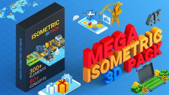 AE模板-300种卡通图形三维等距场景MG元素动画包 Isometric Mega Pack