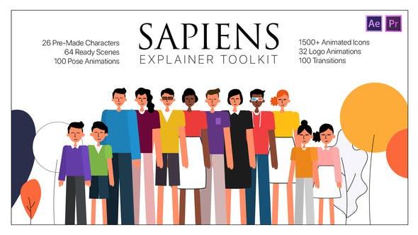 PR模板/AE模板- 现代网络社交媒体二维卡通人物场景介绍展示动画包 Sapiens Explainer Toolkit插图