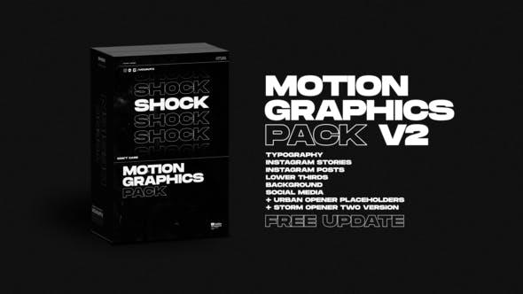 AE模板-时尚流行创意竖屏横屏文字标题排版封面设计动画包 Shock Motion Graphics Pack插图