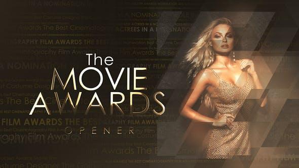 AE模版-大气金色粒子开场晚会活动颁奖开场片头 The Movie Awards Opener插图