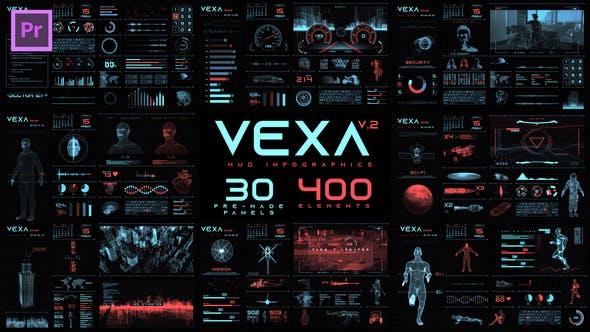 PR模板-380个未来数字科技HUD图形元素动画包 Vexa HUD Infographics Essential Graphics插图