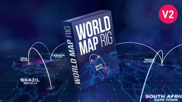 AE模板-世界地图三维连线位置标注动画 World Map Rig插图