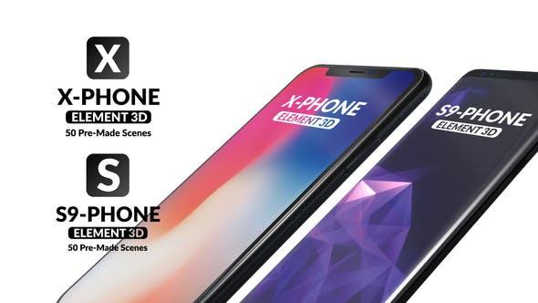 AE模板-50组三维手机平板电脑界面图文应用场景介绍 X-Phone Promo For Element 3D + S9