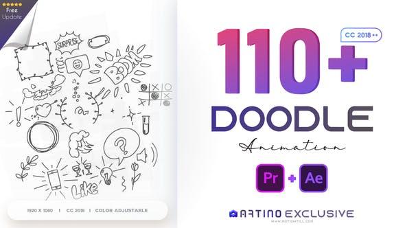 AE/PR脚本模板-110个可爱卡通手绘涂鸦图形动画预设 Animated Doodles Pack插图