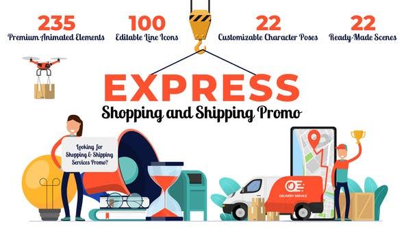AE模板-扁平化二维卡通图标人物角色场景MG动画包 Express Shopping & Shipping Promo插图