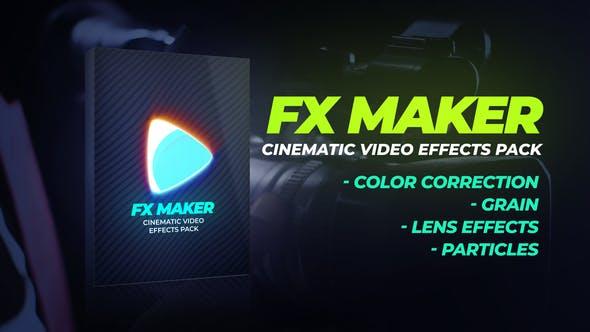 32个镜头炫光粉尘粒子噪点视频素材+30个LUTS调色预设 FX Maker Video Effects Pack