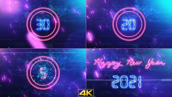 2021新年快乐霓虹发光30秒倒计时片头4K视频素材 New Year Countdown 2021 Neon V1插图