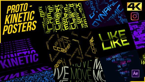 AE模板-创意动感文字标题海报排版动画 Proto – Kinetic Posters插图