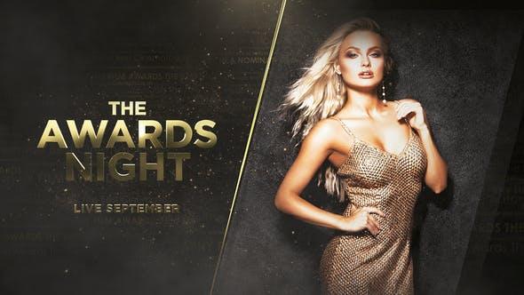 AE模板-大气金色粒子文字标题颁奖晚会包装介绍开场片头 The Awards Night Promo