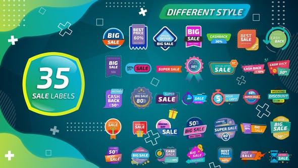 AE模板-35个商家店铺优惠降价打折促销标签贴纸图形动画 Sale Labels