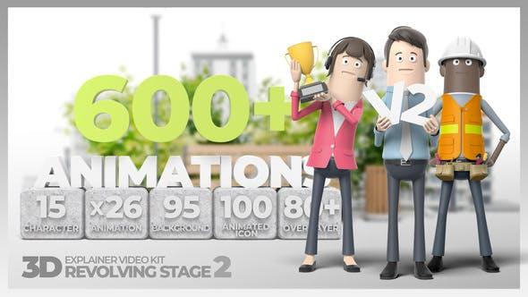 AE模板-三维卡通人物角色场景解说MG动画 3D Explainer Video Kit Revolving Stage 2