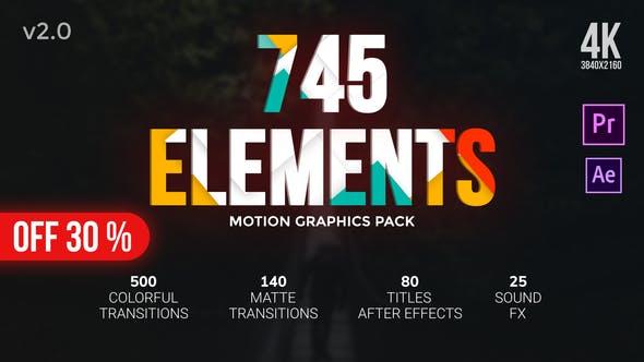 PR模板/AE模板-745个彩色图形蒙版遮罩转场文字标题动画预设 Transitions Pack插图