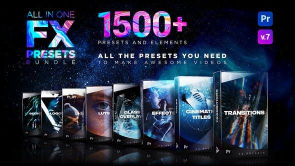 Premiere模板-1500种视觉特效电影文字标题转场LOGO动画素材背景音效LUTS调色预设 FX Presets Pack V7插图