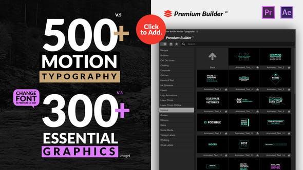 AE/PR脚本模板-500种现代时尚创意设计商务婚礼文字标题预设 Motion Typography Essential Graphics V5插图