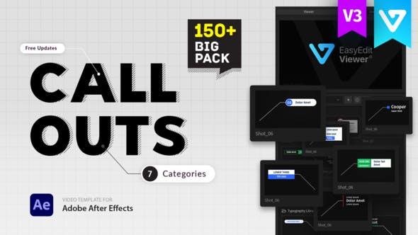 AE脚本-150种呼出指示线箭头文字标题介绍标注动画预设 Big Pack Call-Outs V3插图