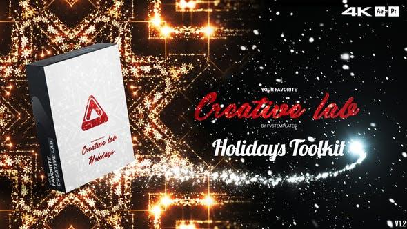 AE/PR脚本-200种新年活动节日烟花粒子拖尾标题背景涂鸦倒计时动画预设包 Creative Lab – Holidays Toolkit v1.2