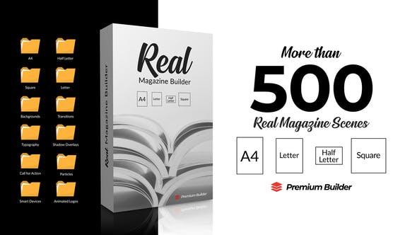 AE脚本/模板-500种真实三维书籍杂志图文排版介绍宣传册动画 Real Magazine Builder for Element 3D