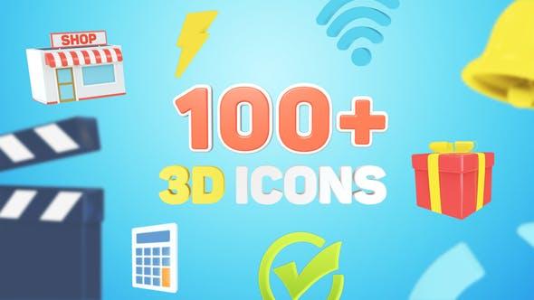 AE模板-100个时尚社交媒体三维立体LOGO图标动画
