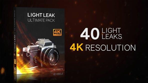 4K视频素材-40个镜头漏光炫光闪烁动画 Light Leaks