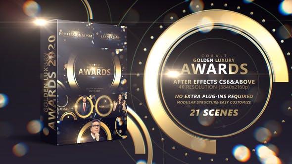 AE模板-金色粒子光斑荣耀颁奖典礼文字标题介绍开场片头