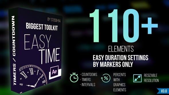 AE模板-110个数字时钟倒计时容量进度条图形动画 Countdown Timer toolkit
