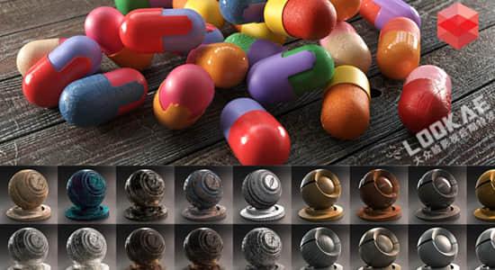 500种C4D Redshift渲染器金属塑料木材玻璃液体石材混凝土科技日常材质预设 Redshift Shader Suite V4