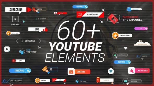 PR预设-60个社交自媒体UP主点赞关注订阅提示图形标题动画 YTB Subscribe Pack MOGRT