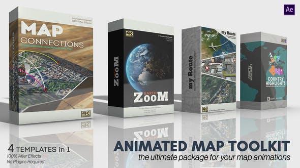 AE模板-云层穿梭俯冲地球地图定点坐标路径连线动画 Animated Map Toolkit