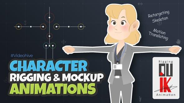 AE模板-高级二维卡通人物角色骨骼绑定动作MG动画 Character Rigging Mock Up Animations