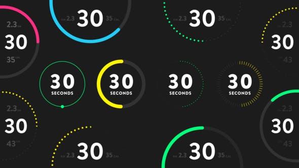 AE模板-28种轻松自定义数字倒计时图形动画 Countdown Timers for Fitness