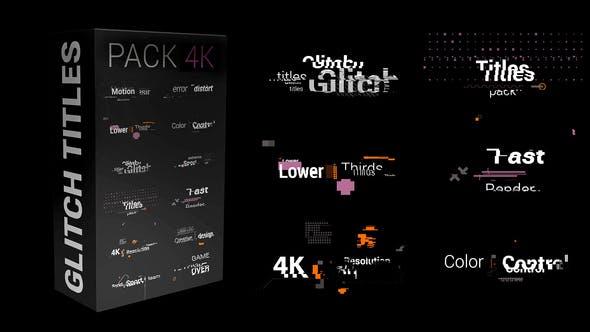 FCPX插件-12个动态醒目设计信号故障失真干扰文字标题动画 Glitch Titles Pack 4K