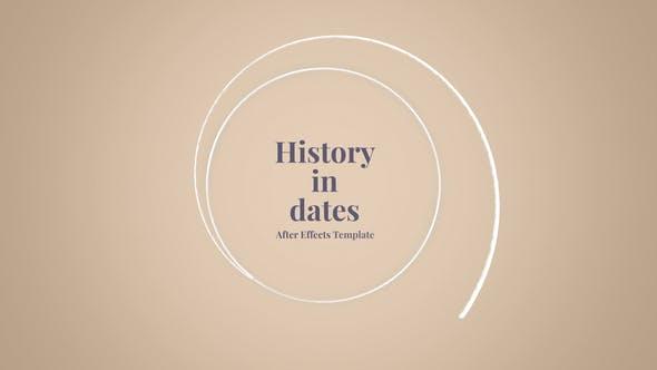 AE模板-时间线发展历程回忆图文介绍展示 History in Dates – History Memory